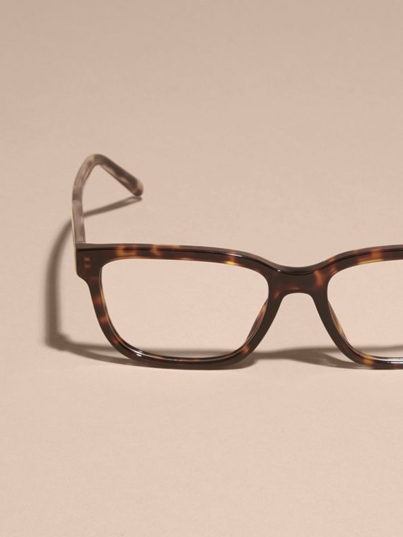 Light russet brown Check Detail Rectangular Optical Frames Light Russet Brown - cell image 2