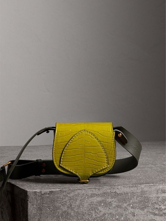 The Pocket Satchel in Alligator in Dark Lime