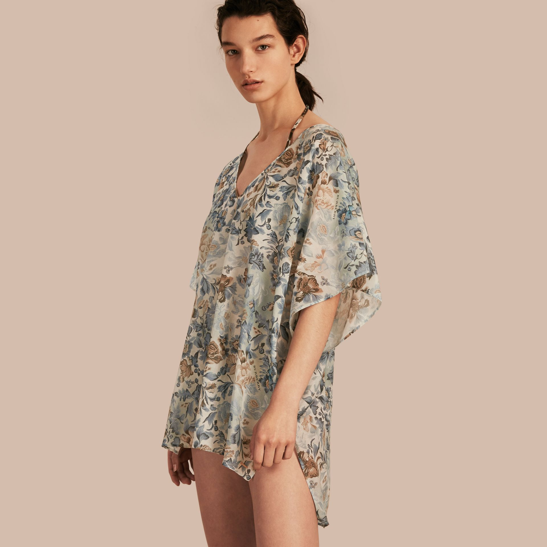 Garden Floral Cotton Silk Swimwear Cover-up - gallery image 1