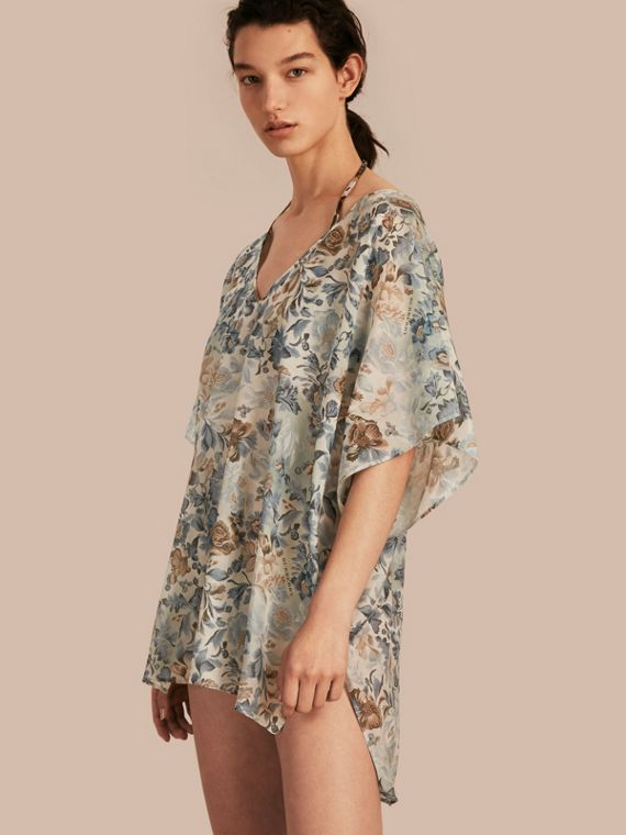 Garden Floral Cotton Silk Swimwear Cover-up
