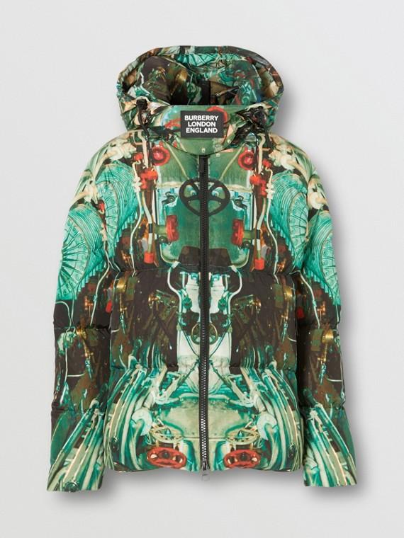 Submarine Print Puffer Jacket in Celadon Green
