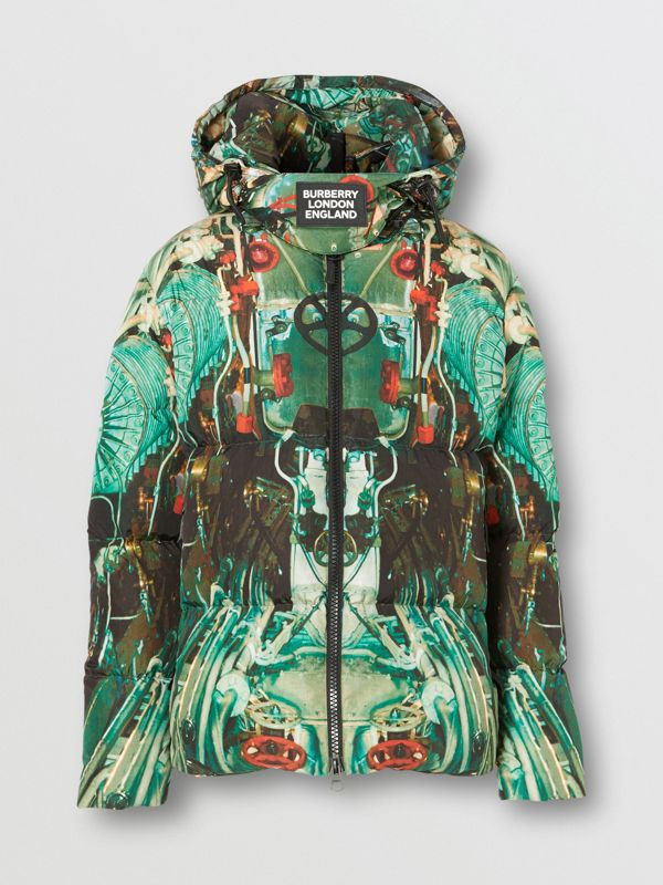 Submarine Print Puffer Jacket in Celadon Green - Men | Burberry United Kingdom - cell image 3