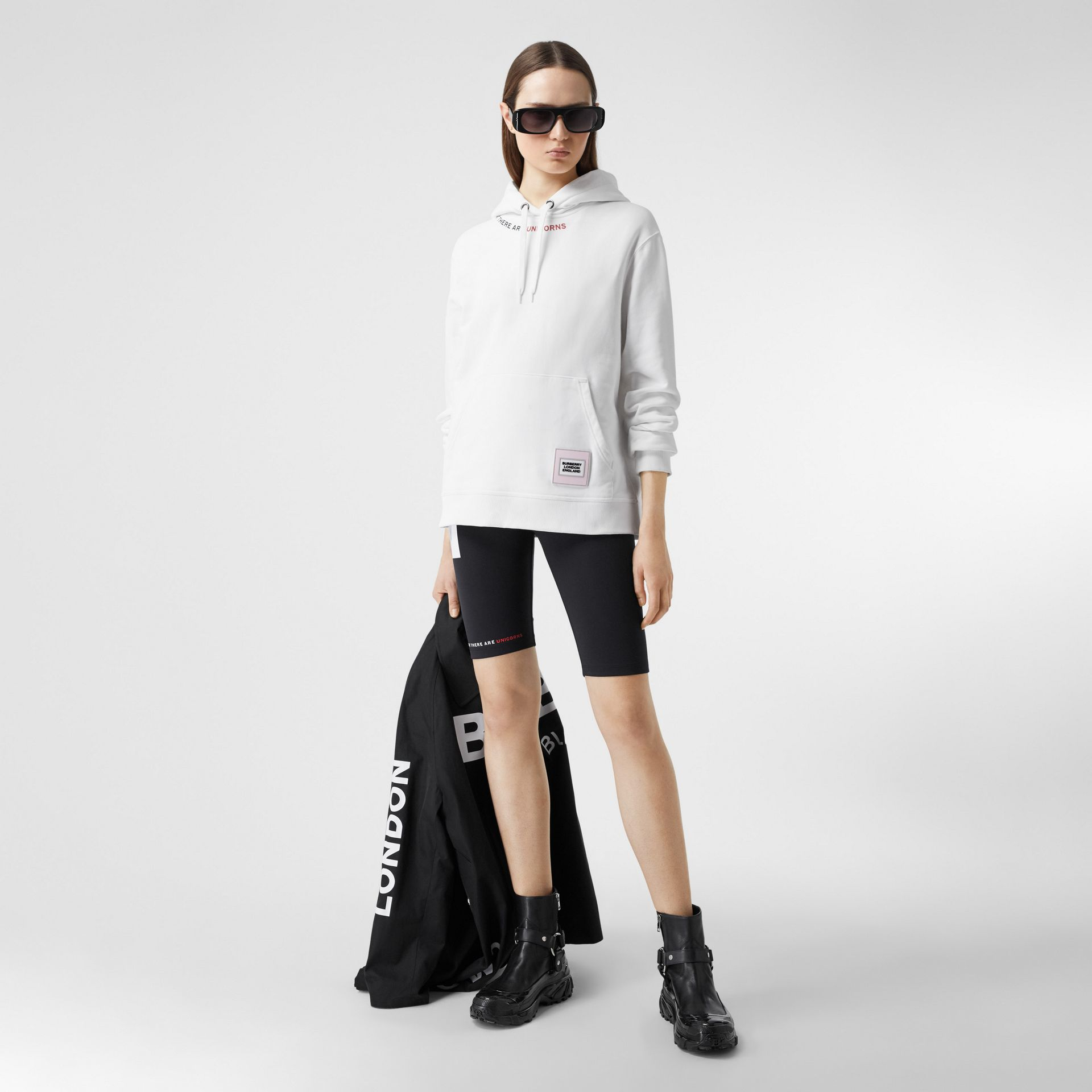 Quote Print Cotton Oversized Hoodie in White - Women | Burberry United States - gallery image 0