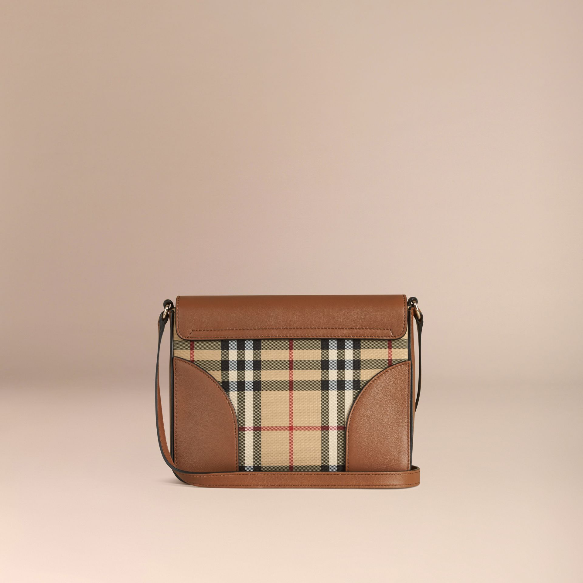 Honey/tan Small Horseferry Check and Leather Crossbody Bag Honey/tan - gallery image 3