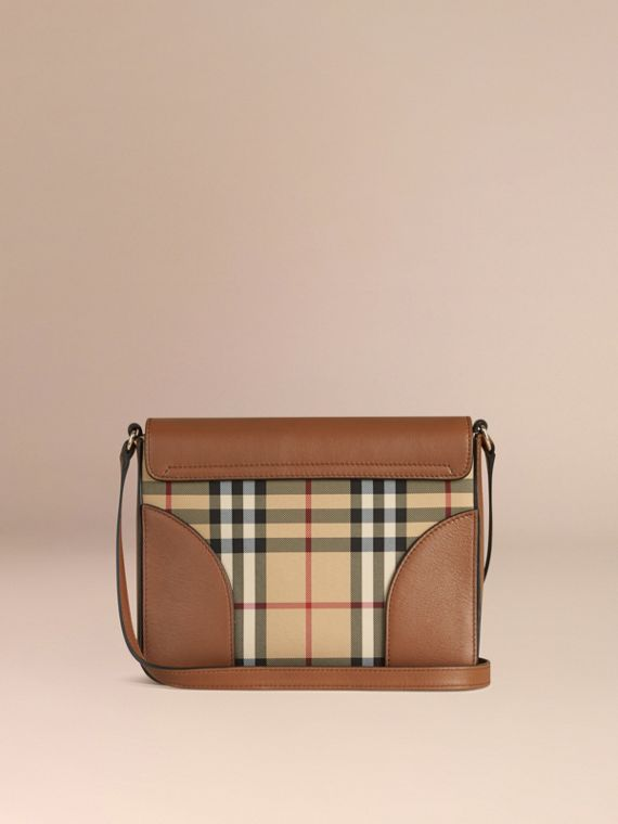 Honey/tan Small Horseferry Check and Leather Crossbody Bag Honey/tan - cell image 2