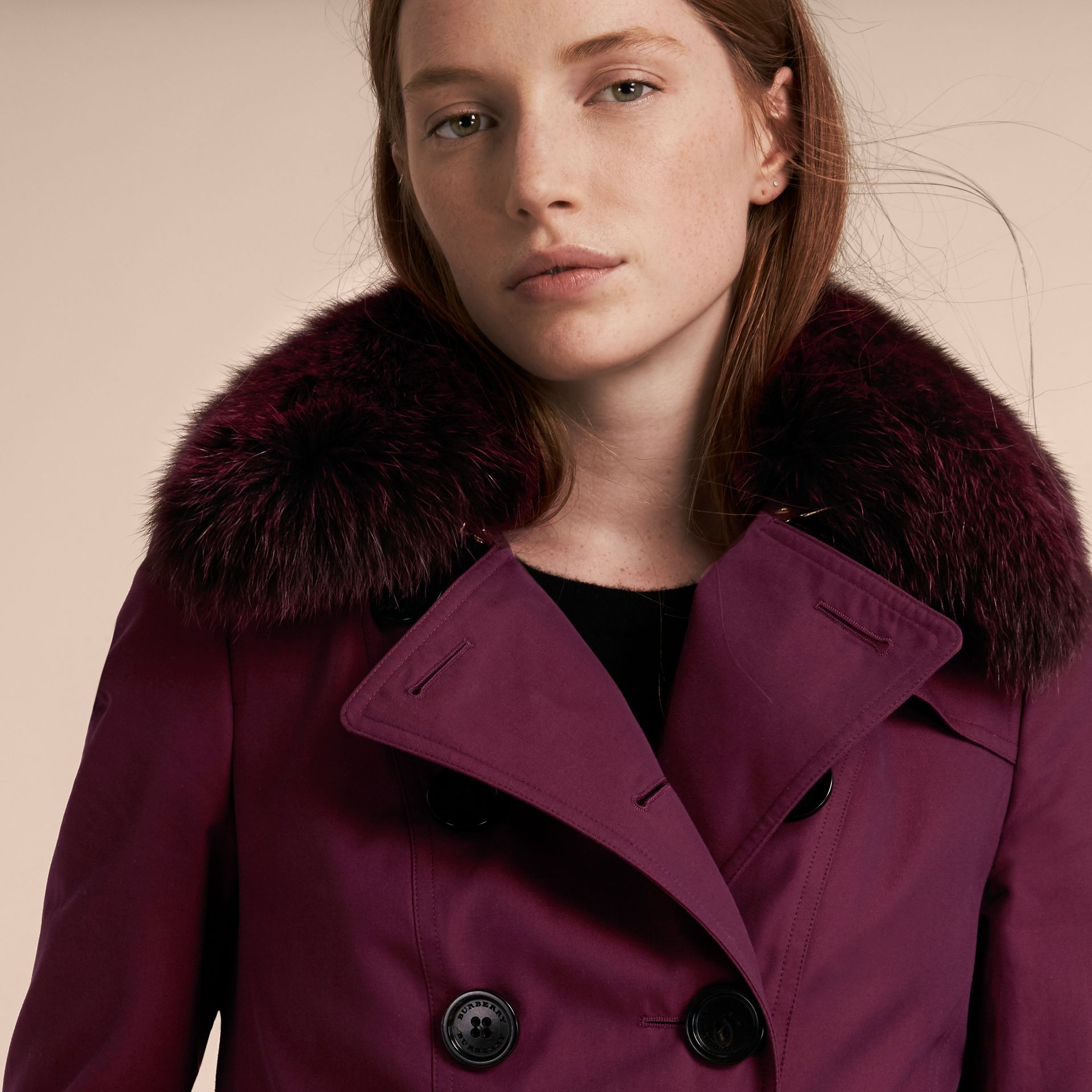 Crimson Cotton Gabardine Trench Coat with Detachable Fur Trim Crimson - gallery image 5
