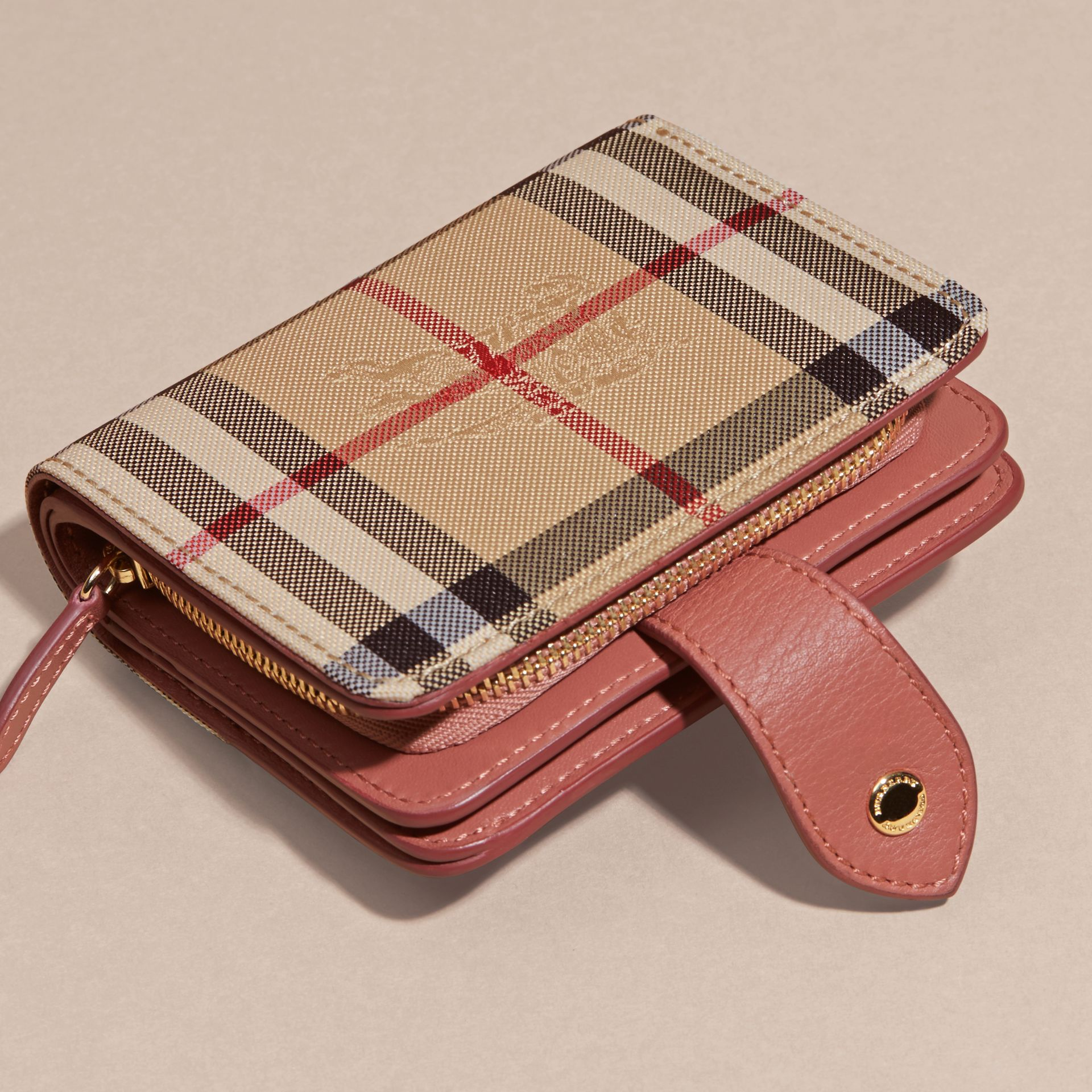 Horseferry Check and Leather Wallet Antique Rose - gallery image 4