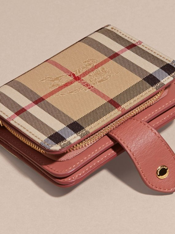 Horseferry Check and Leather Wallet Antique Rose - cell image 3