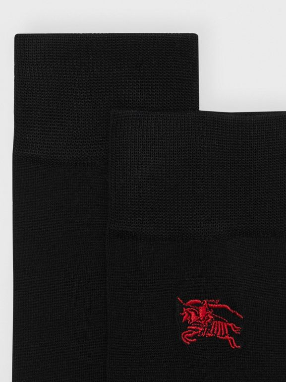 Embroidered EKD Cotton Blend Socks in Black | Burberry United Kingdom - cell image 1