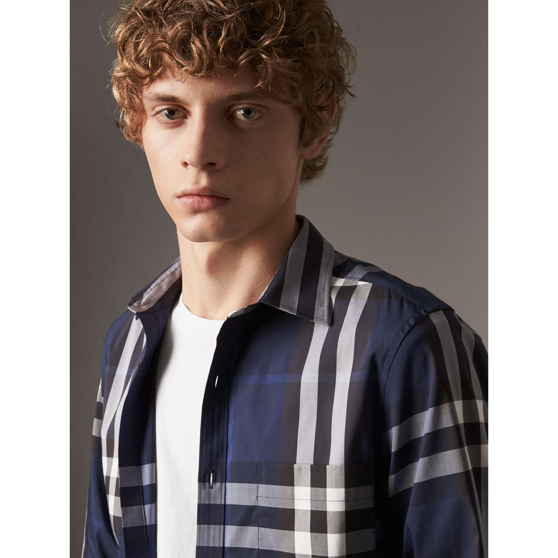 Check Stretch Cotton Shirt in Indigo Blue - Men | Burberry Singapore - gallery image 2