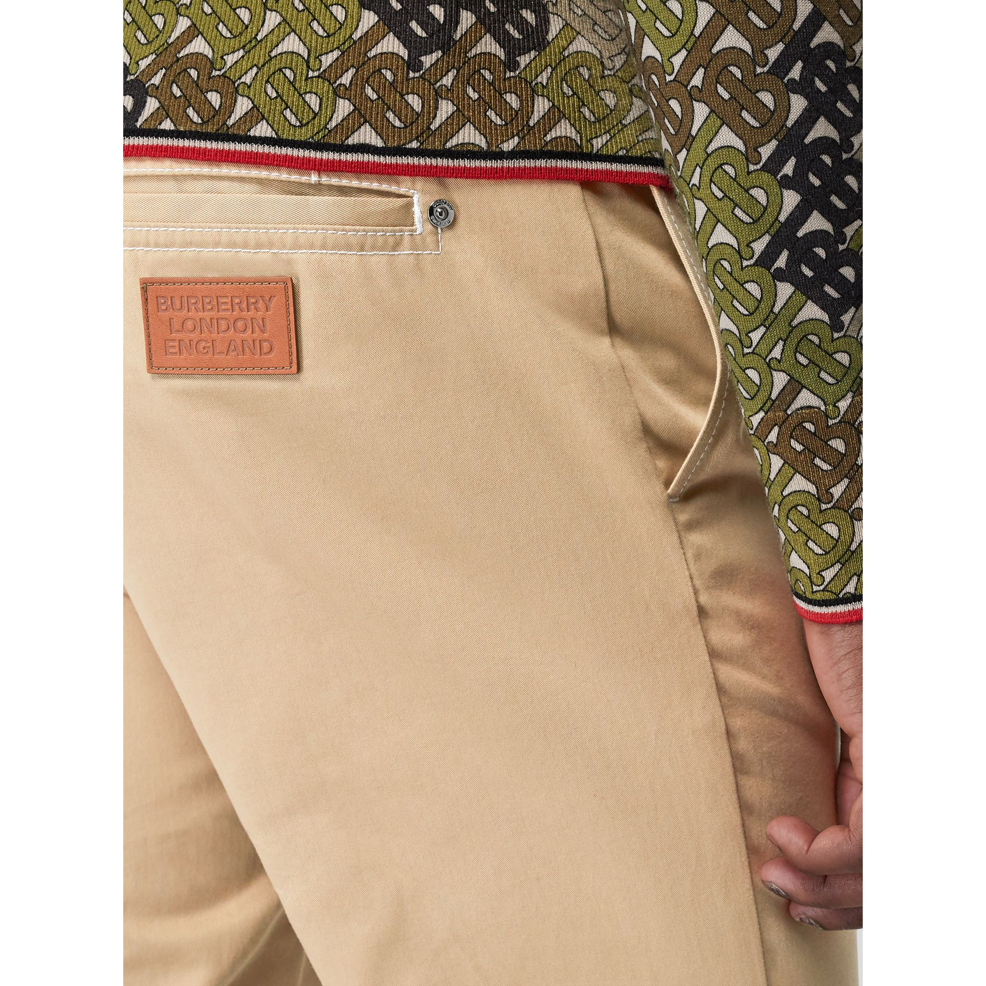 Slim Fit Topstitch Detail Cotton Chinos in Honey - Men | Burberry Hong Kong - gallery image 1