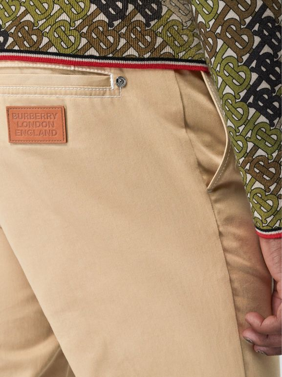 Slim Fit Topstitch Detail Cotton Chinos in Honey - Men | Burberry - cell image 1