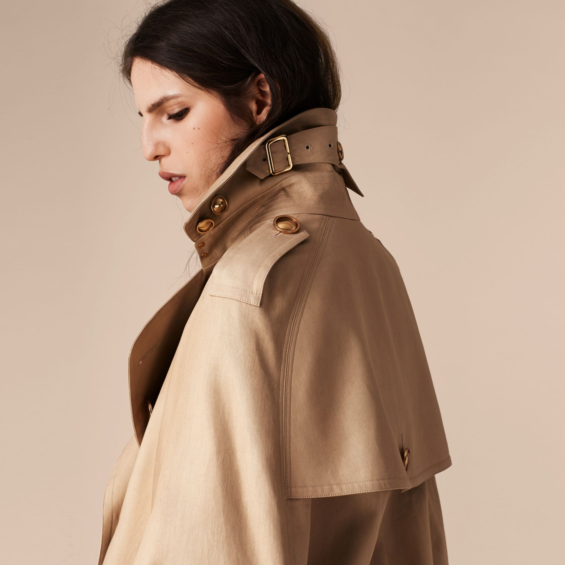 Honey Raccoon Collar Cotton Trench Cape - gallery image 5
