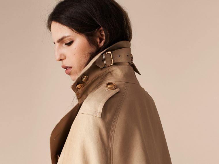 Honey Raccoon Collar Cotton Trench Cape - cell image 4