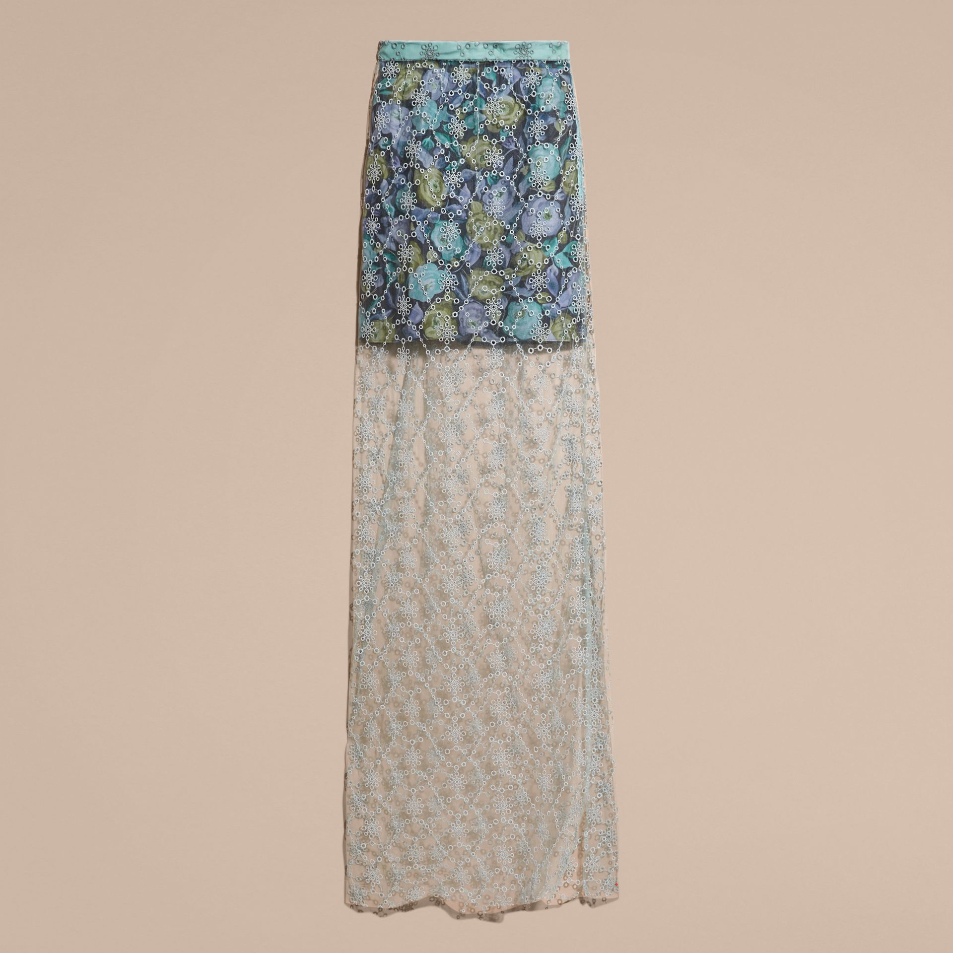 Aqua green Embroidered Tulle Column Skirt with Rose Print Lining - gallery image 4