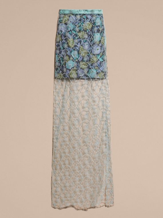 Aqua green Embroidered Tulle Column Skirt with Rose Print Lining - cell image 3