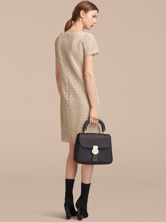 Short-sleeve Geometric Lace Dress in Stone - Women | Burberry - cell image 2