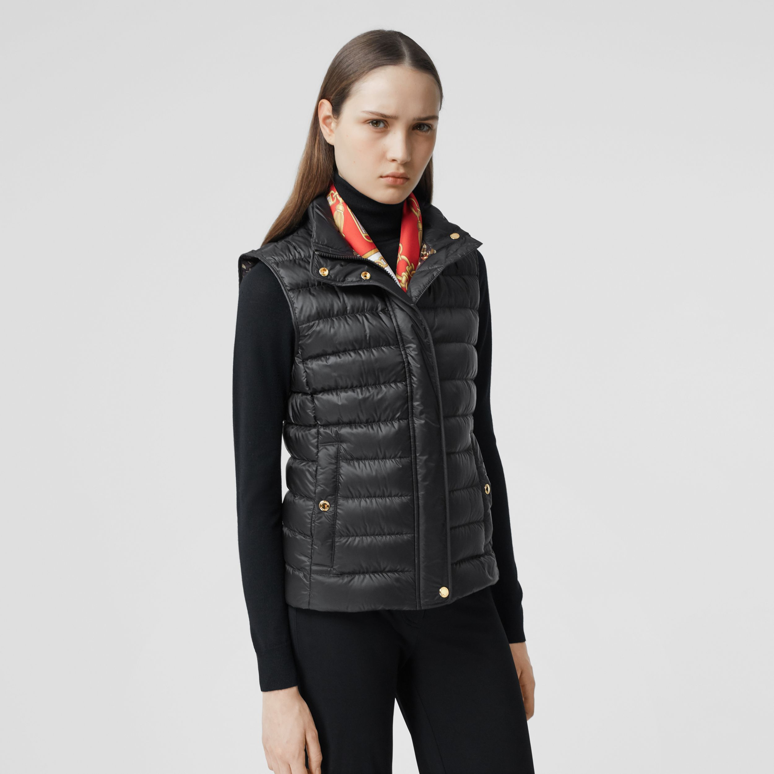 Monogram Print-lined Lightweight Puffer Gilet in Black - Women | Burberry - 1