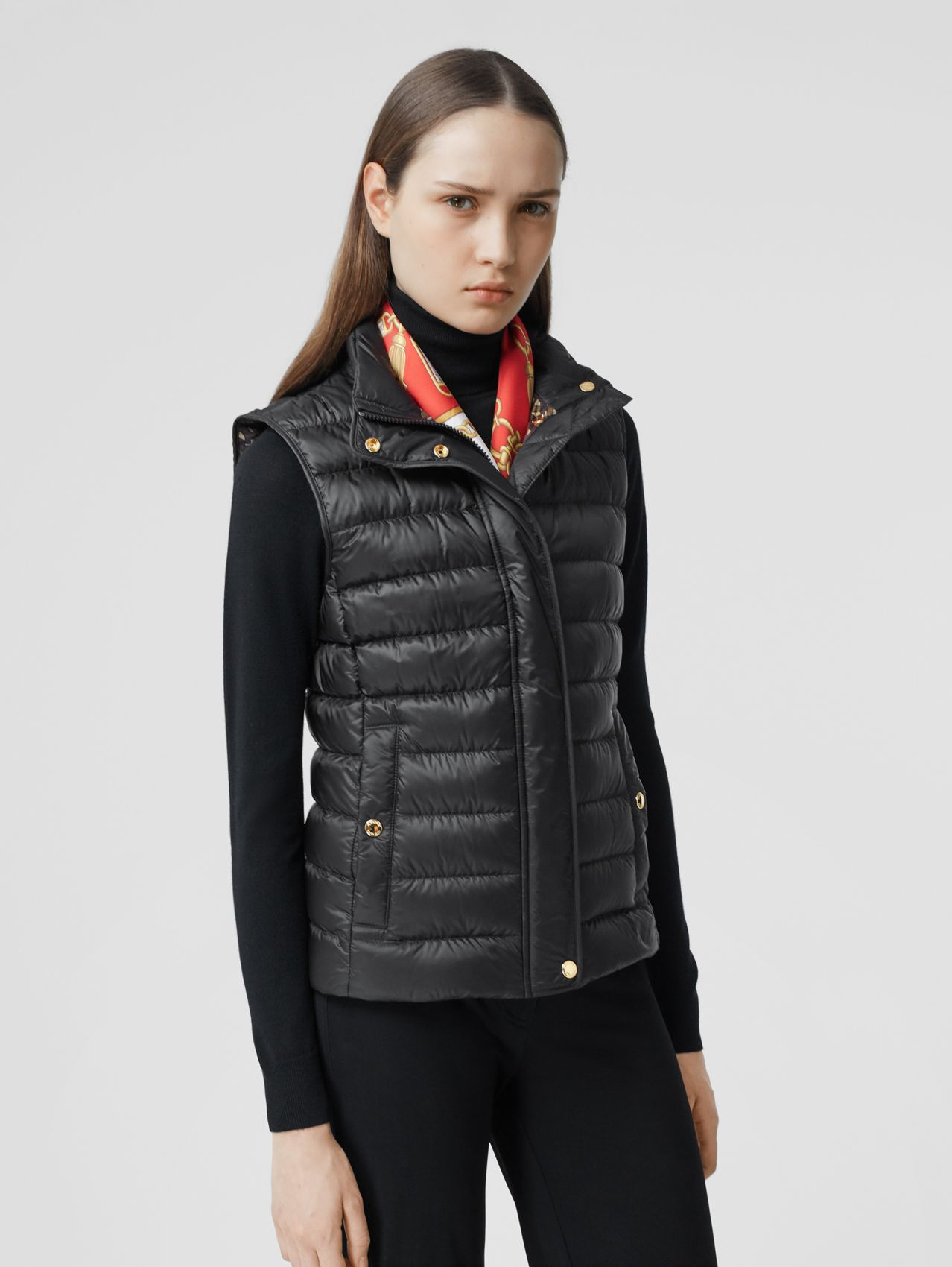 Monogram Print-lined Lightweight Puffer Gilet in Black