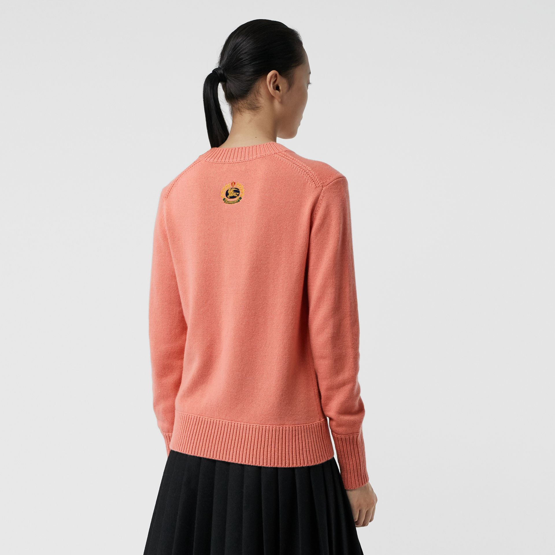 Archive Logo Appliqué Cashmere Sweater in Bright Coral Pink - Women | Burberry Hong Kong - gallery image 2