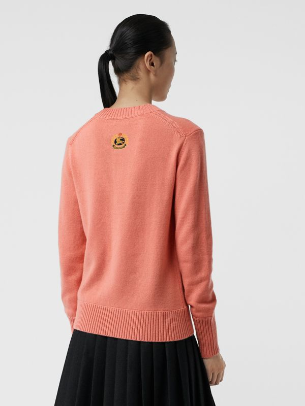 Archive Logo Appliqué Cashmere Sweater in Bright Coral Pink - Women | Burberry United Kingdom - cell image 2