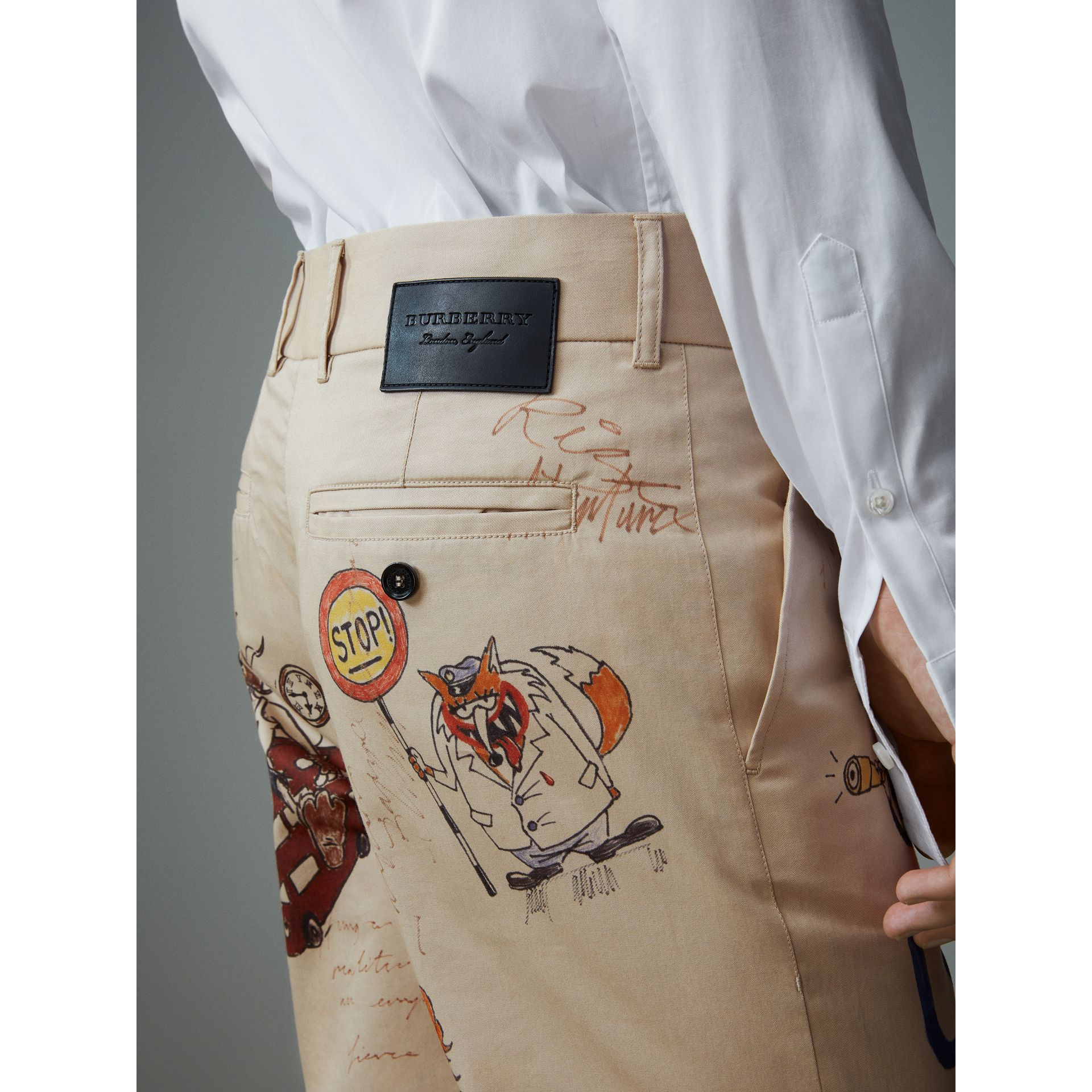 Sketch Print Cotton Cropped Chinos in Sand - Men | Burberry Singapore - gallery image 2