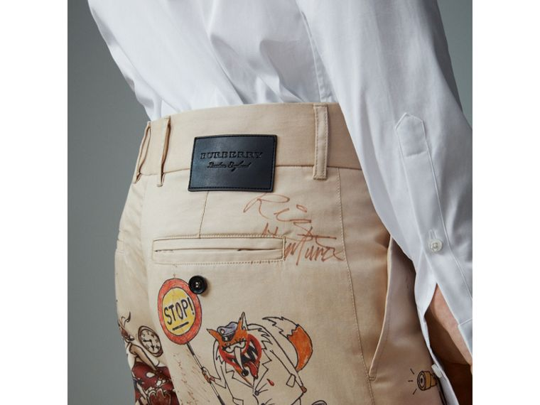 Sketch Print Cotton Cropped Chinos in Sand - Men | Burberry - cell image 1