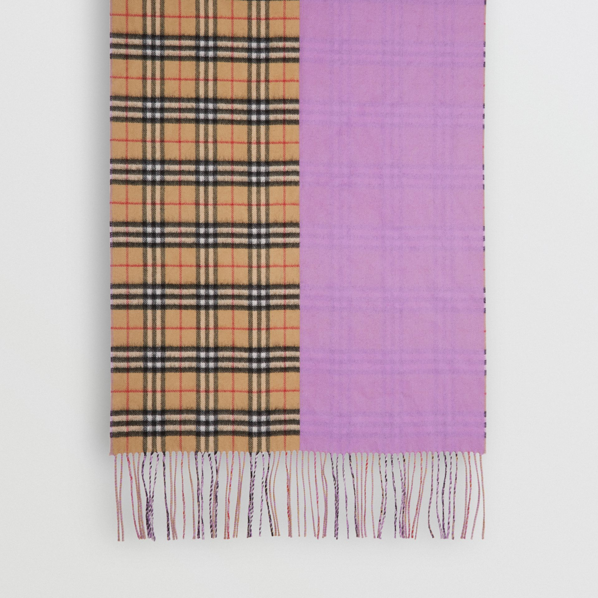 Colour Block Vintage Check Cashmere Scarf in Bright Lilac | Burberry Canada - gallery image 4