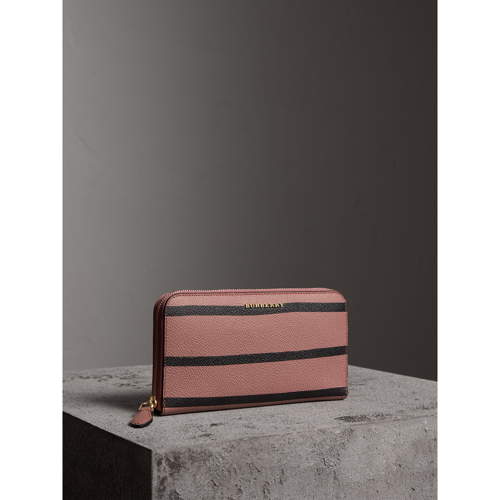 Trompe L'oeil Print Leather Ziparound Wallet in Dusty Pink - Women | Burberry - gallery image 1
