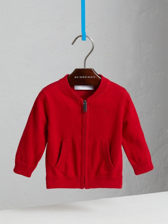 Check Detail Cotton Cardigan in Military Red