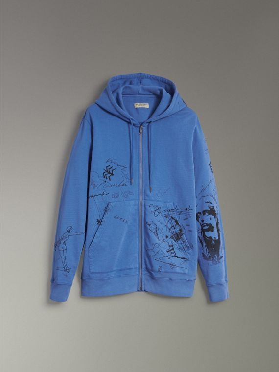 Adventure Print Cotton Jersey Hooded Top in Cornflower Blue - Men | Burberry Australia - cell image 3