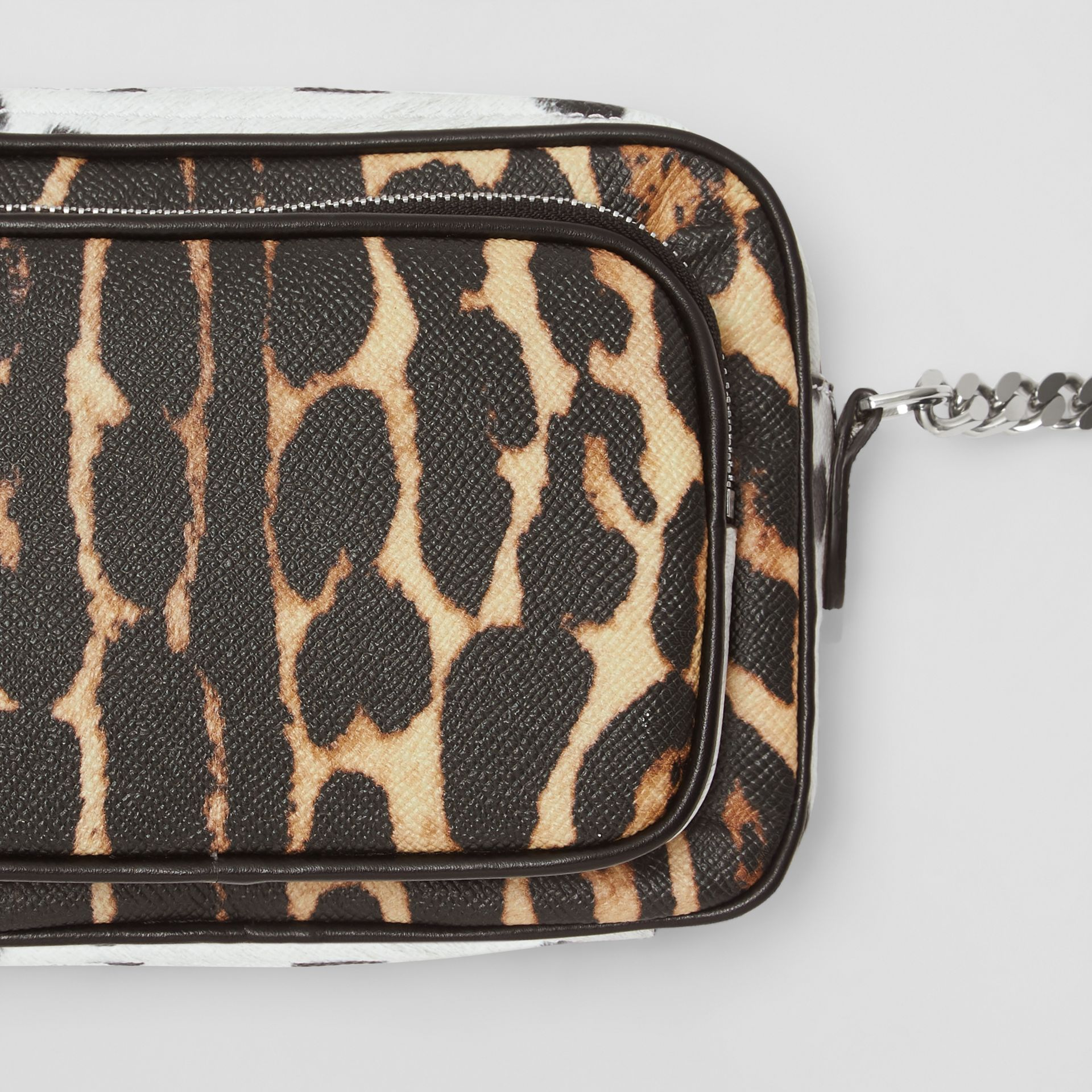 Animal Print Leather Camera Bag in Honey/black - Women | Burberry - gallery image 1