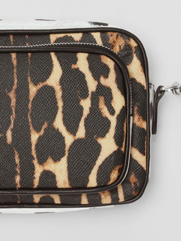 Animal Print Leather Camera Bag in Honey/black - Women | Burberry - cell image 1