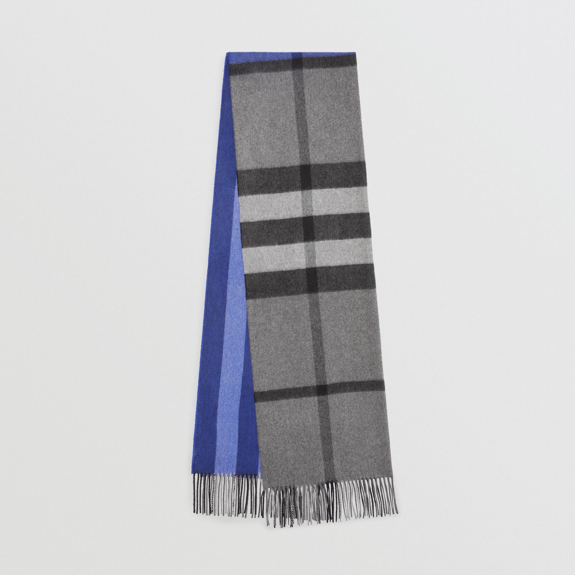 Colour Block Check Cashmere Scarf in Bright Cobalt | Burberry - gallery image 0