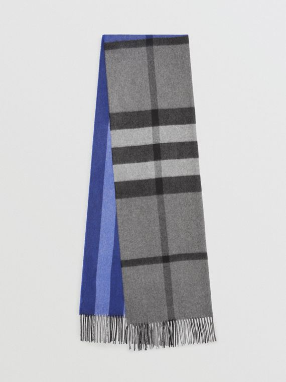 Colour Block Check Cashmere Scarf in Bright Cobalt