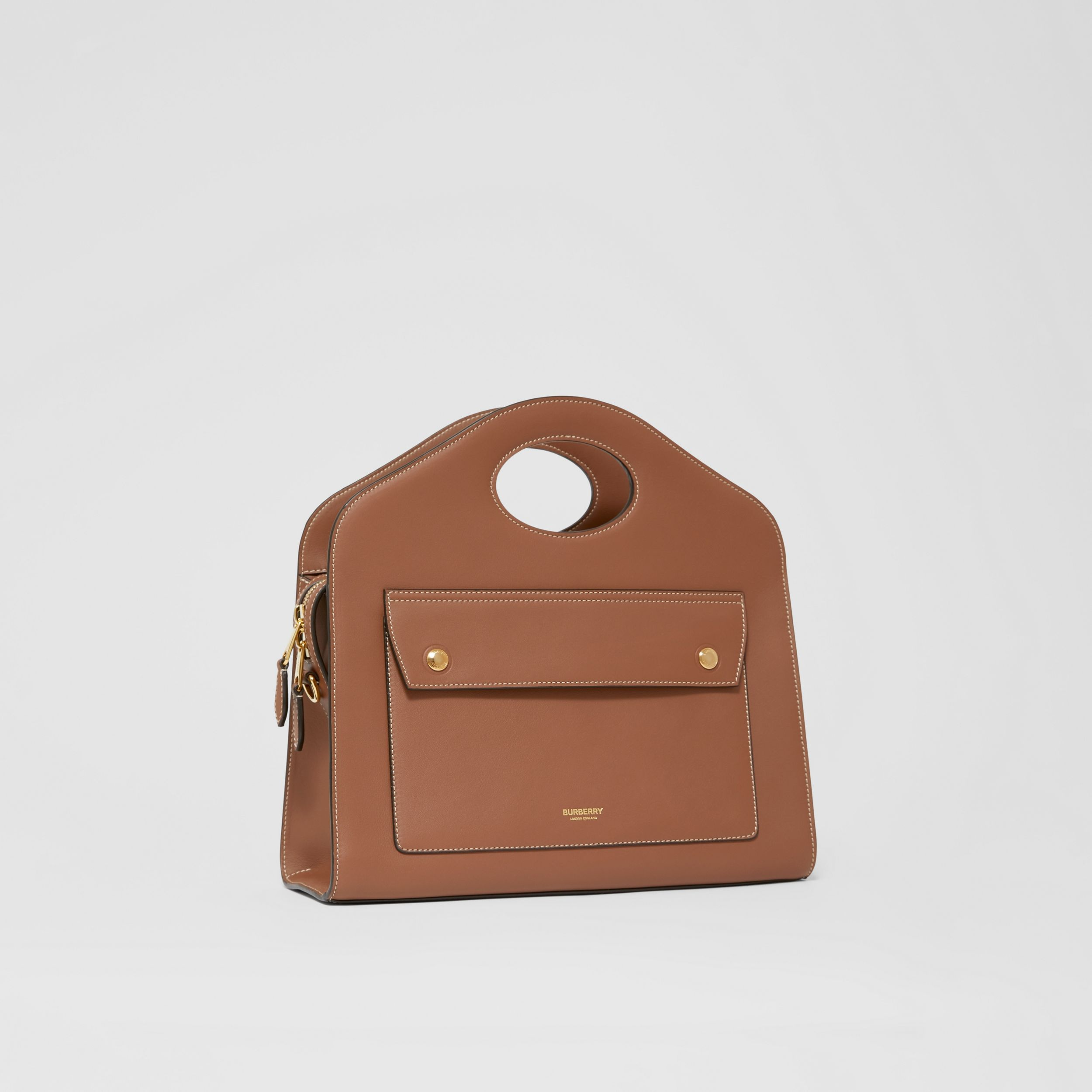 Small Topstitched Leather Pocket Tote in Malt Brown - Women | Burberry Australia - 4