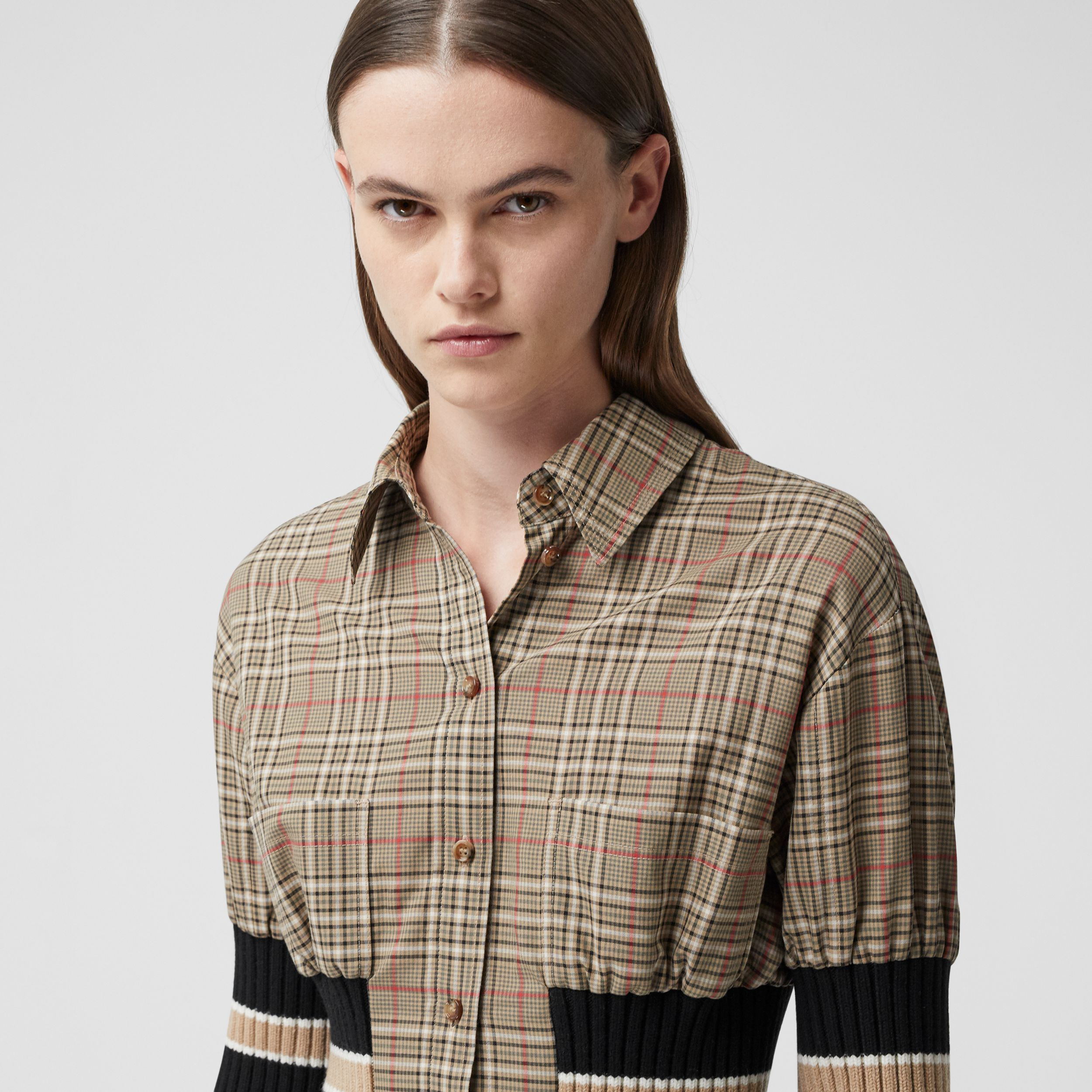 Rib Knit Panel Check Cotton Poplin Shirt Dress in Soft Fawn - Women | Burberry - 2