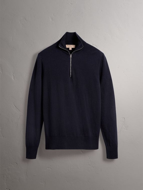 Zip-neck Cashmere Cotton Sweater in Navy - Men | Burberry Singapore - cell image 3