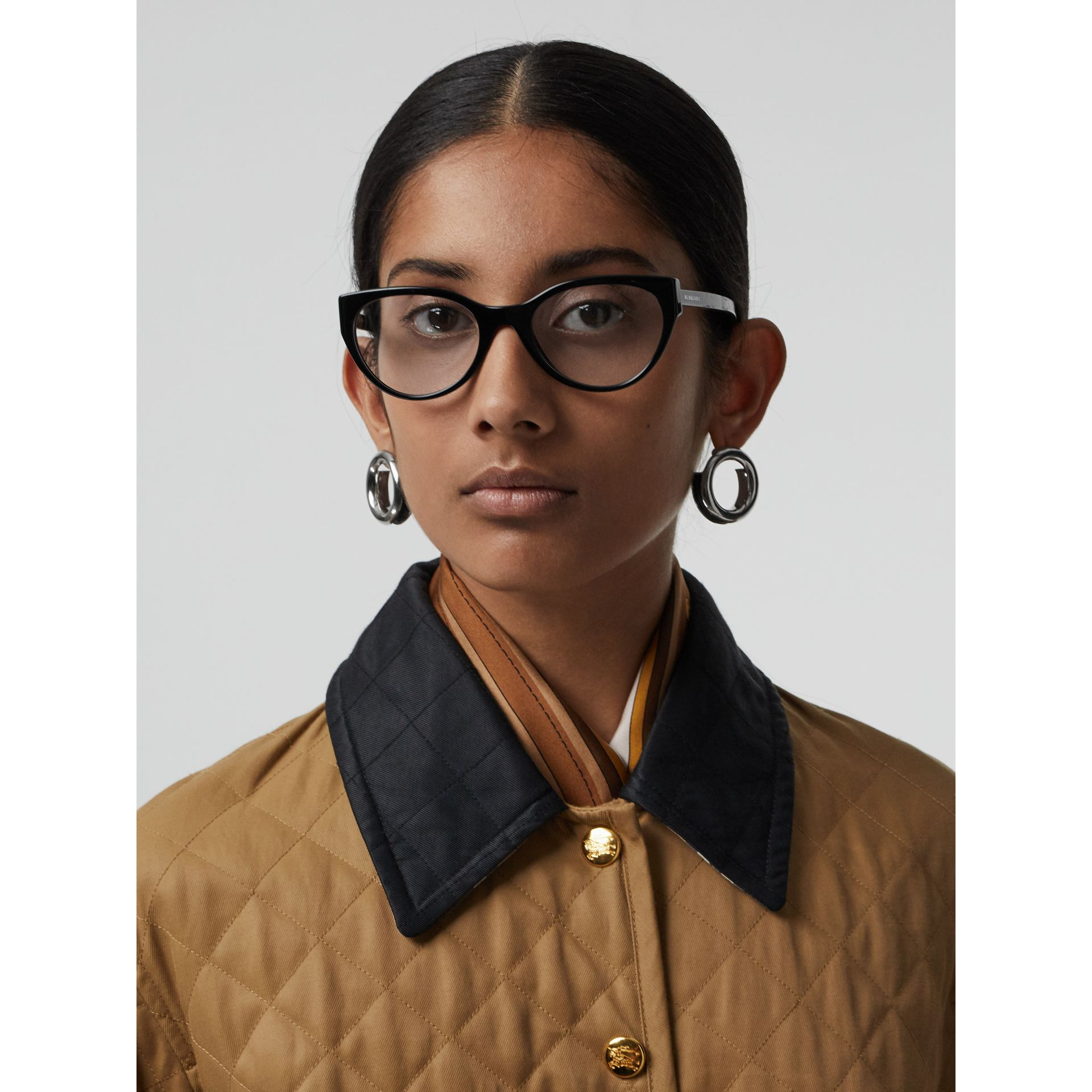 Vintage Check Detail Cat-eye Optical Frames in Black - Women | Burberry Canada - gallery image 2