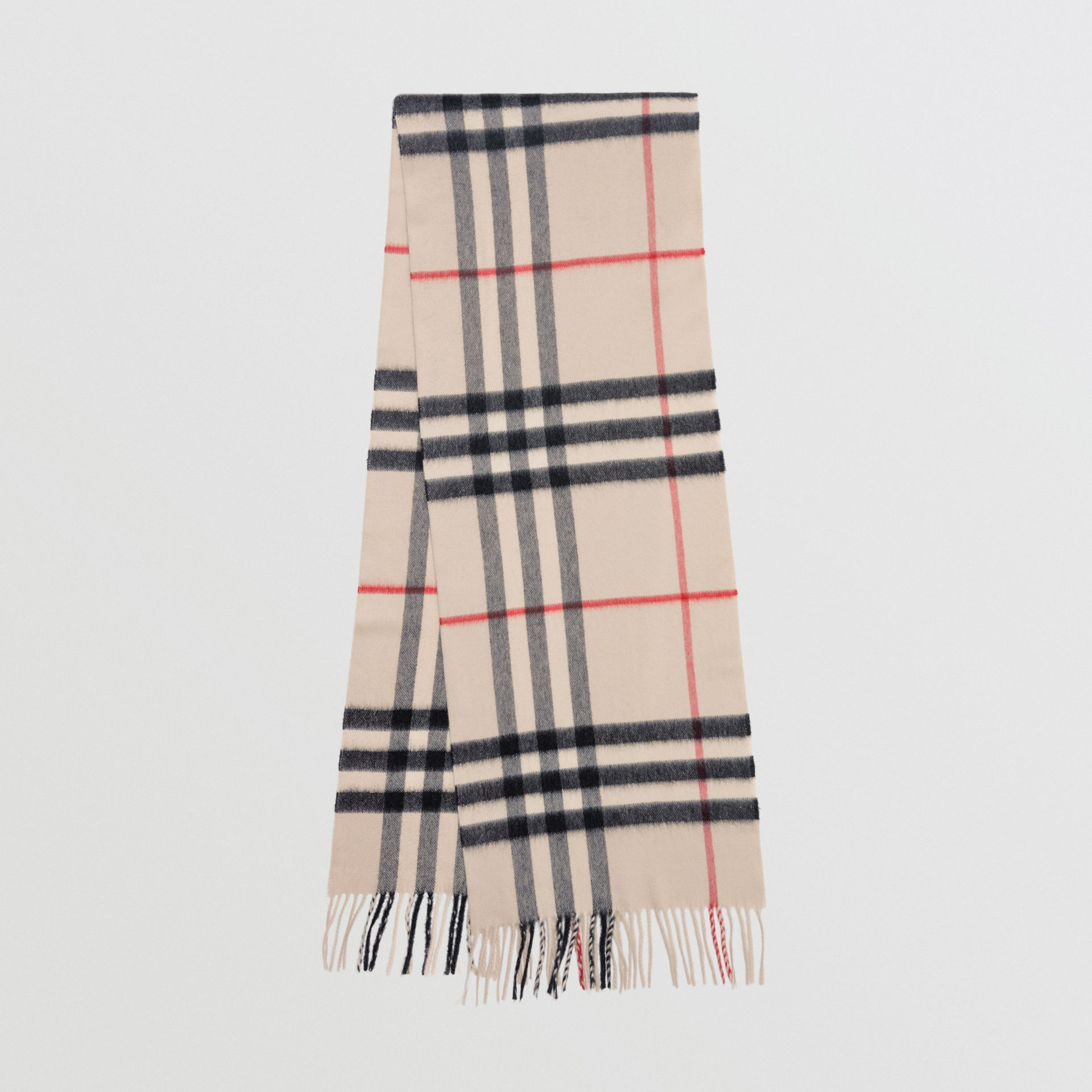 The Classic Cashmere Scarf in Check in White  375492059a