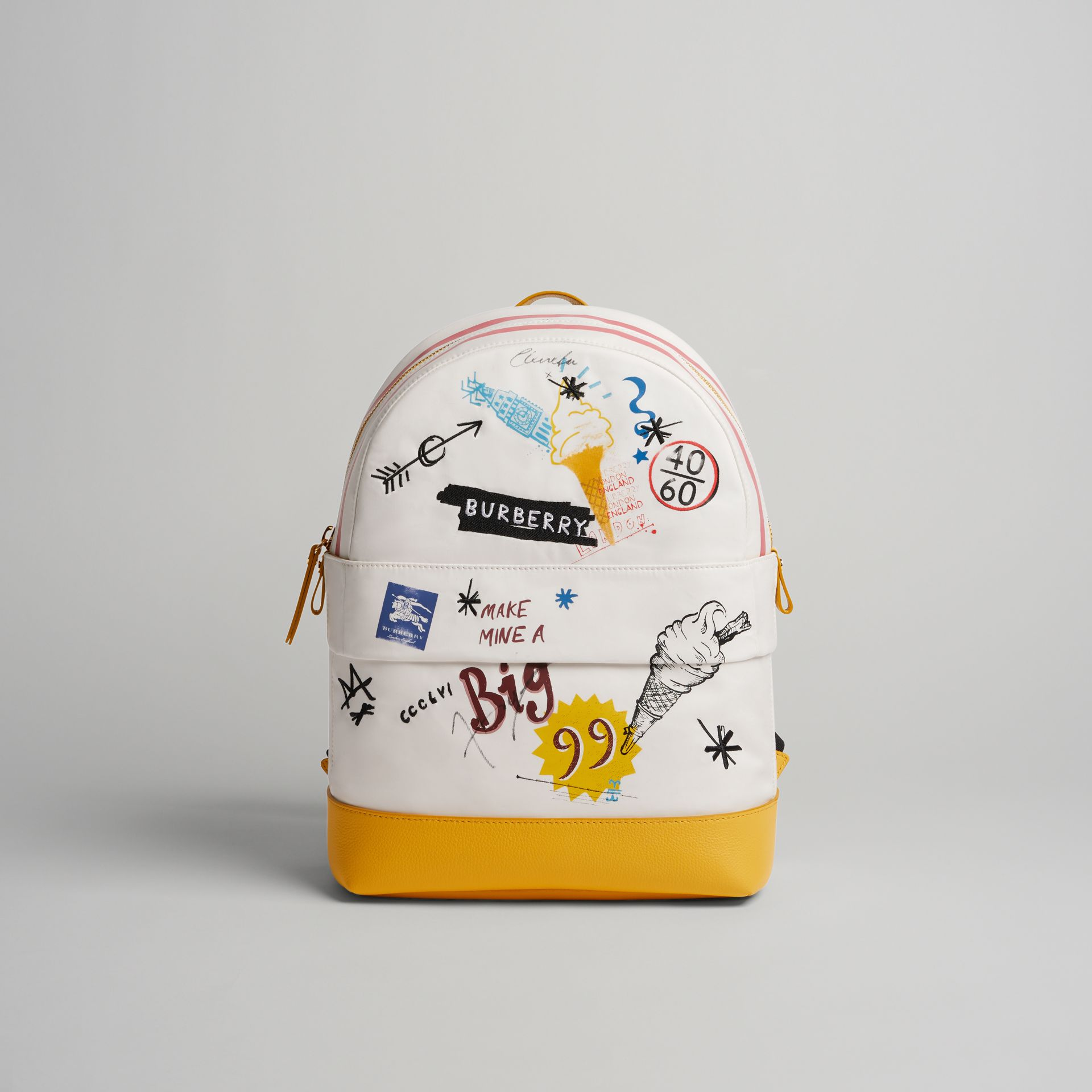 Ice-cream Print Cotton Canvas Backpack in Larch Yellow | Burberry Australia - gallery image 0