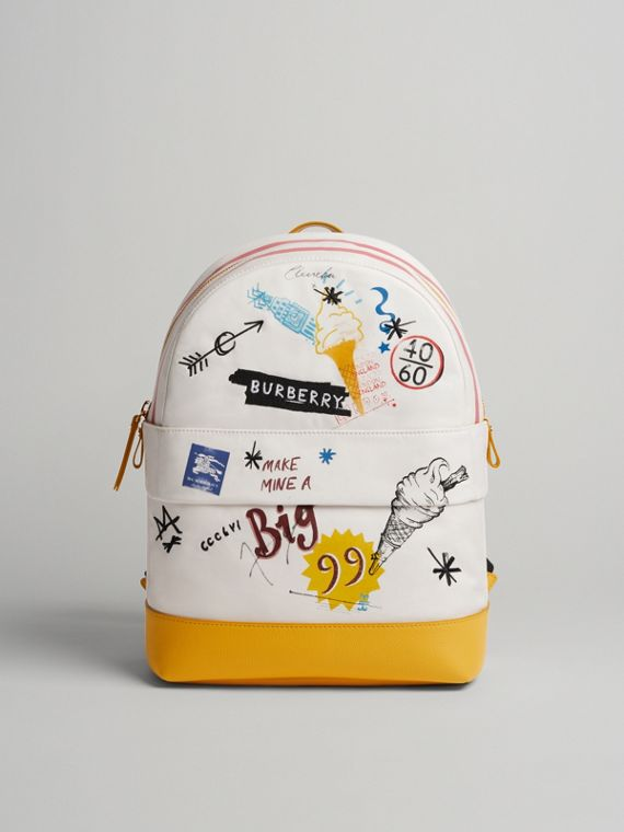 Ice-cream Print Cotton Canvas Backpack in Larch Yellow