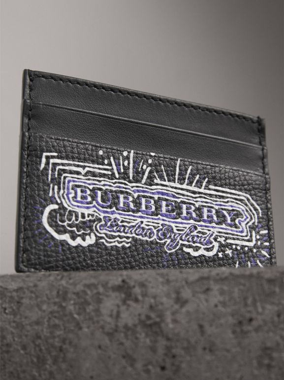 Doodle Print Leather Card Case in Black/white | Burberry - cell image 1