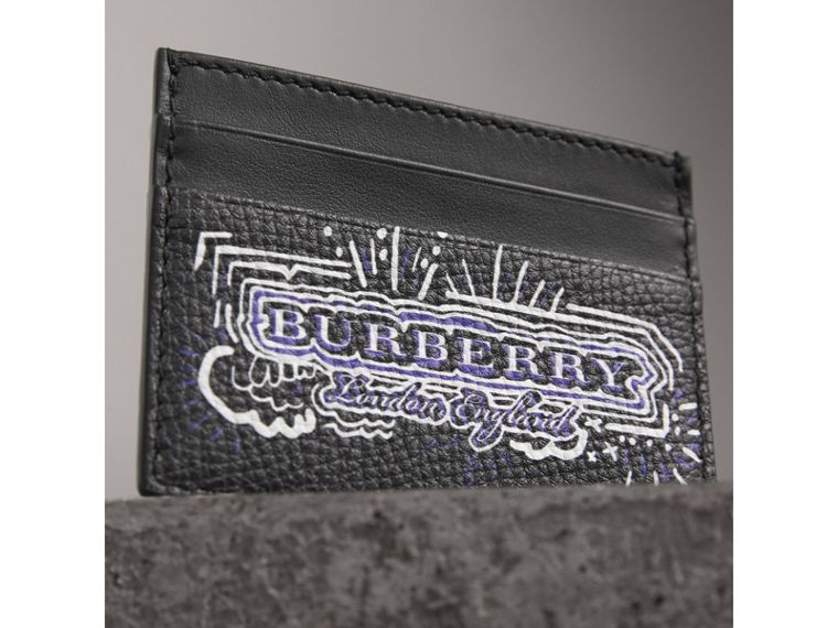 Doodle Print Leather Card Case in Black/white | Burberry Canada - cell image 1
