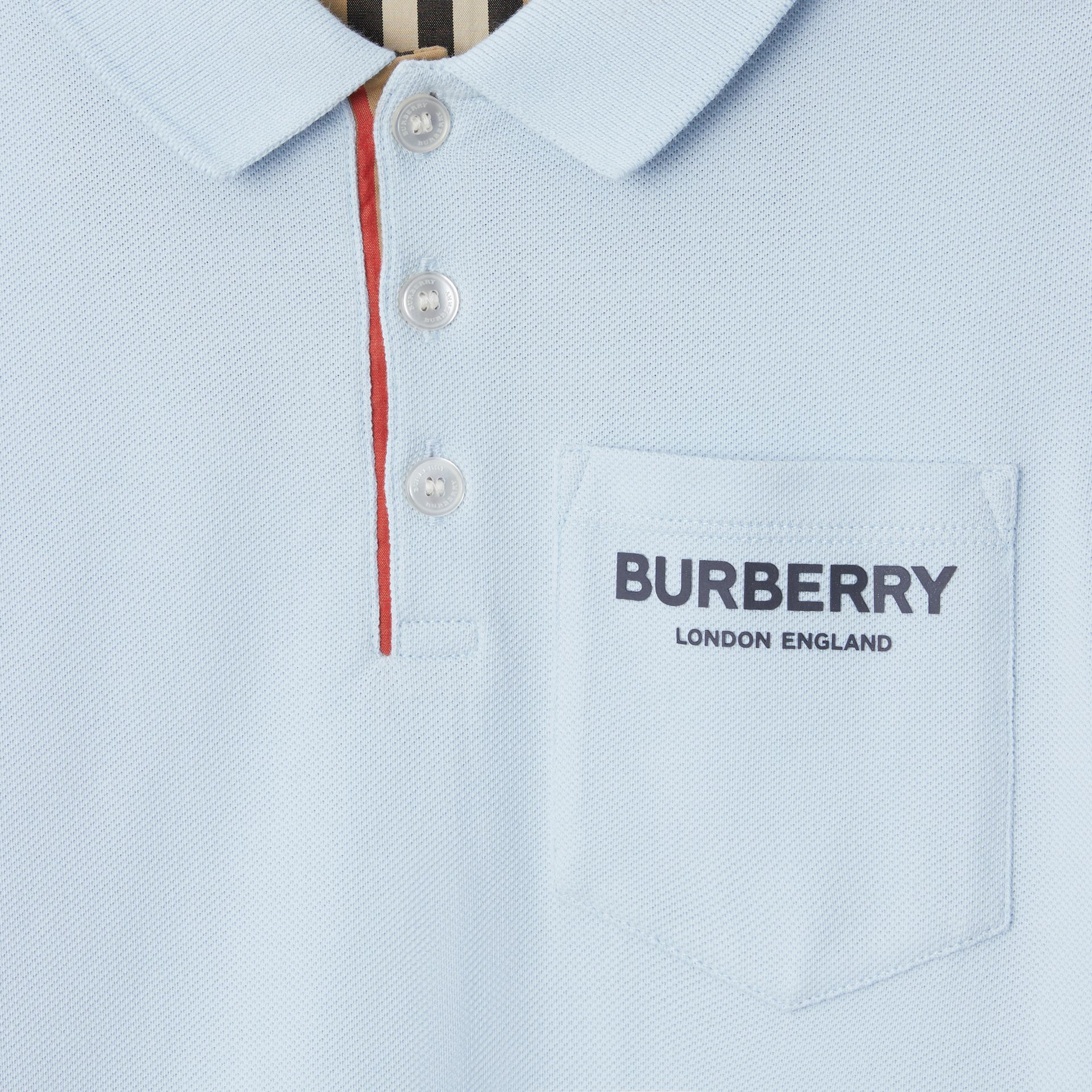 Icon Stripe Placket Cotton Piqué Polo Shirt in Light Blue | Burberry - gallery image 4
