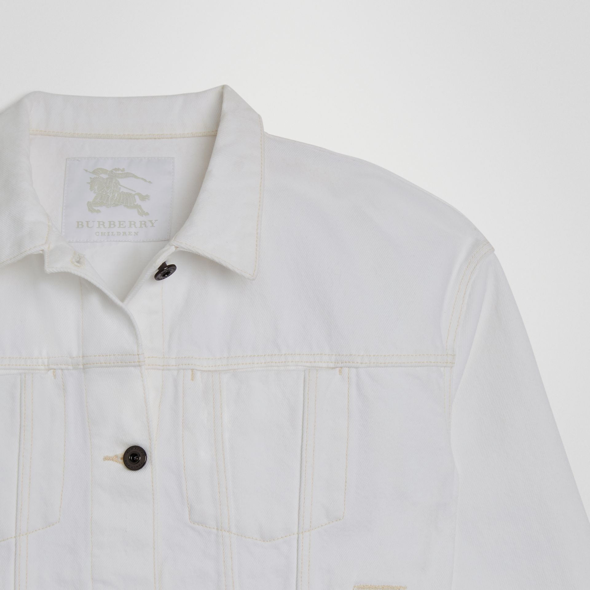 Veste en denim avec logo imprimé (Blanc Naturel) | Burberry - photo de la galerie 4
