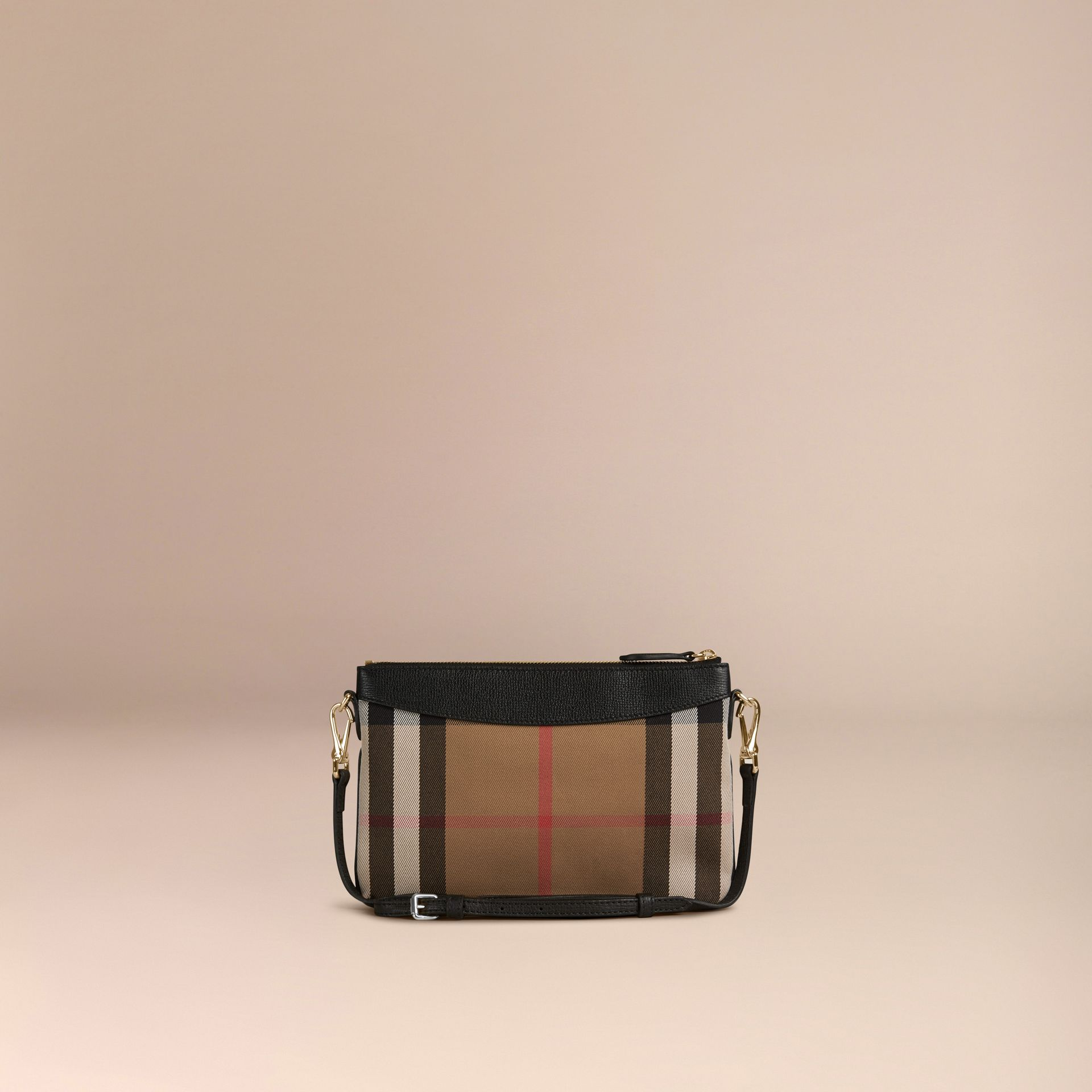 House Check and Leather Clutch Bag in Black - gallery image 4