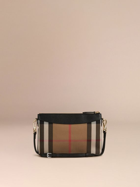 House Check and Leather Clutch Bag in Black - cell image 3