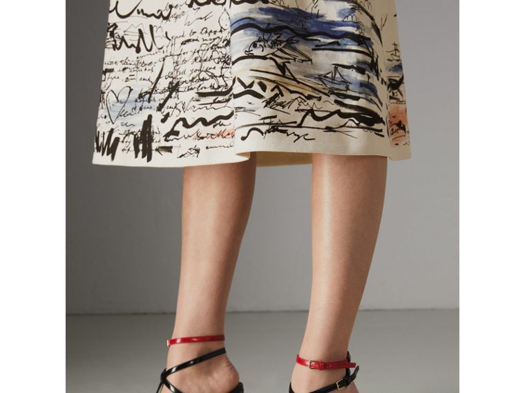 Coastal Print Cotton Linen A-line Skirt in Natural White - Women | Burberry United Kingdom - cell image 1