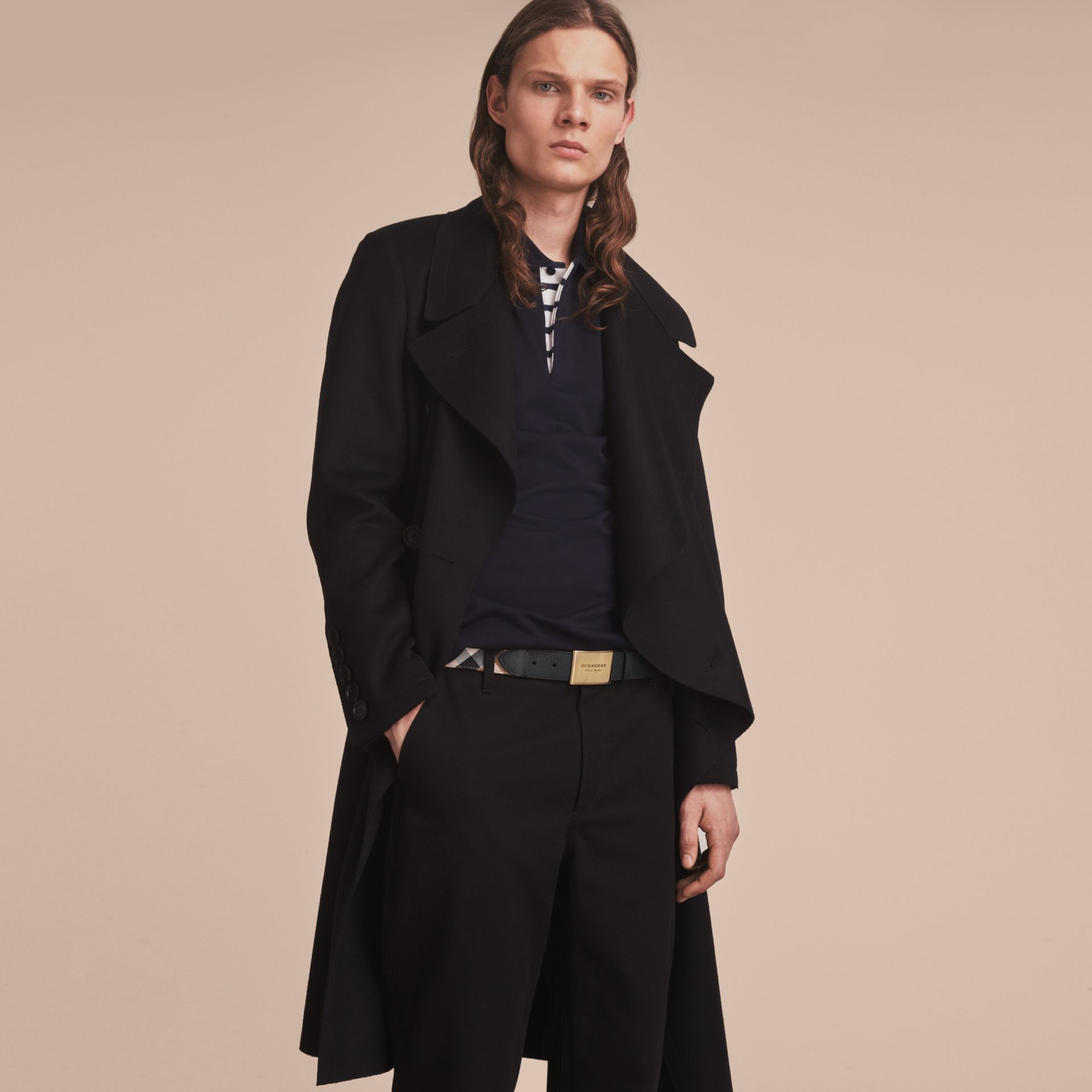 Plaque Buckle House Check and Leather Belt in Black - Men | Burberry - gallery image 3